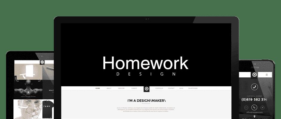 Ecran d'accueil de la homepage, Homework design.